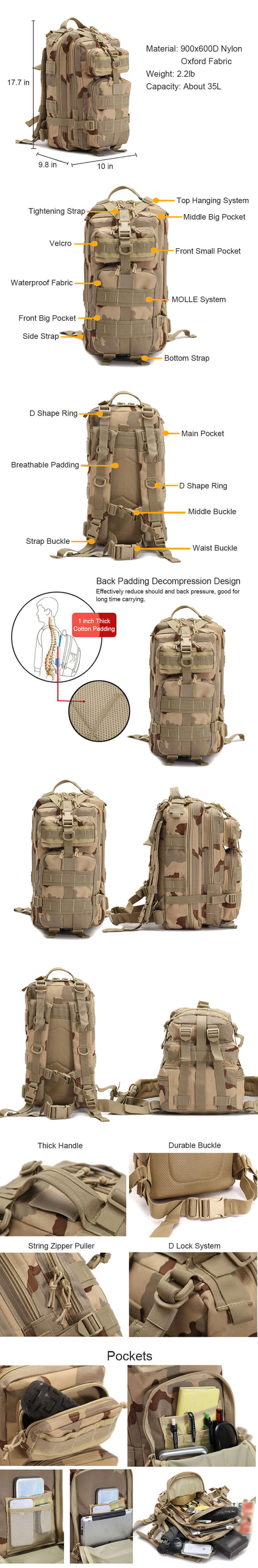 40L Outdoor Tactical Backpack Rucksack